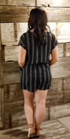 Black Short Sleeve Drop Shoulder Button Down Romper