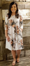 Ivory Floral 3/4 Sleeve Dress with Side Pockets-ALL SALES FINAL