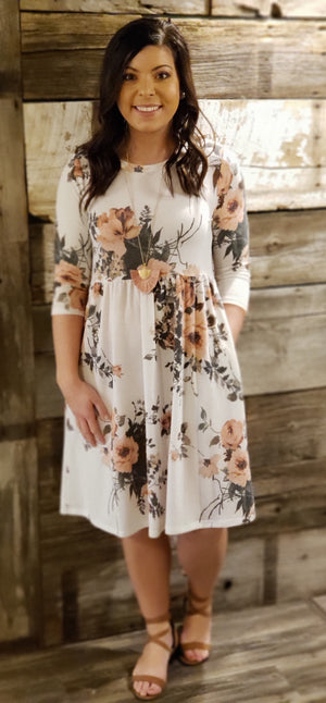 Ivory Floral 3/4 Sleeve Dress with Side Pockets