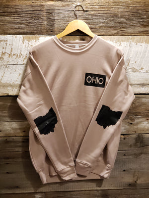 Tan with Black OHIO Crew Neck Drop Shoulder Sweatshirt - Unisex