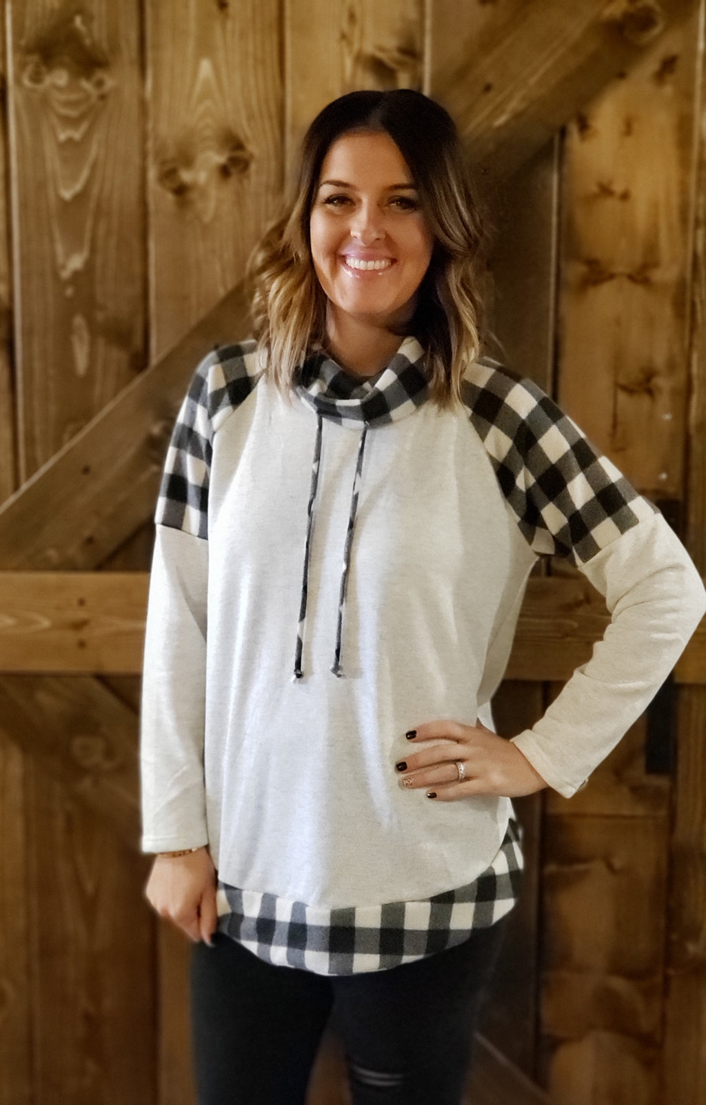 Grey Buffalo Plaid High Neck French Terry Top