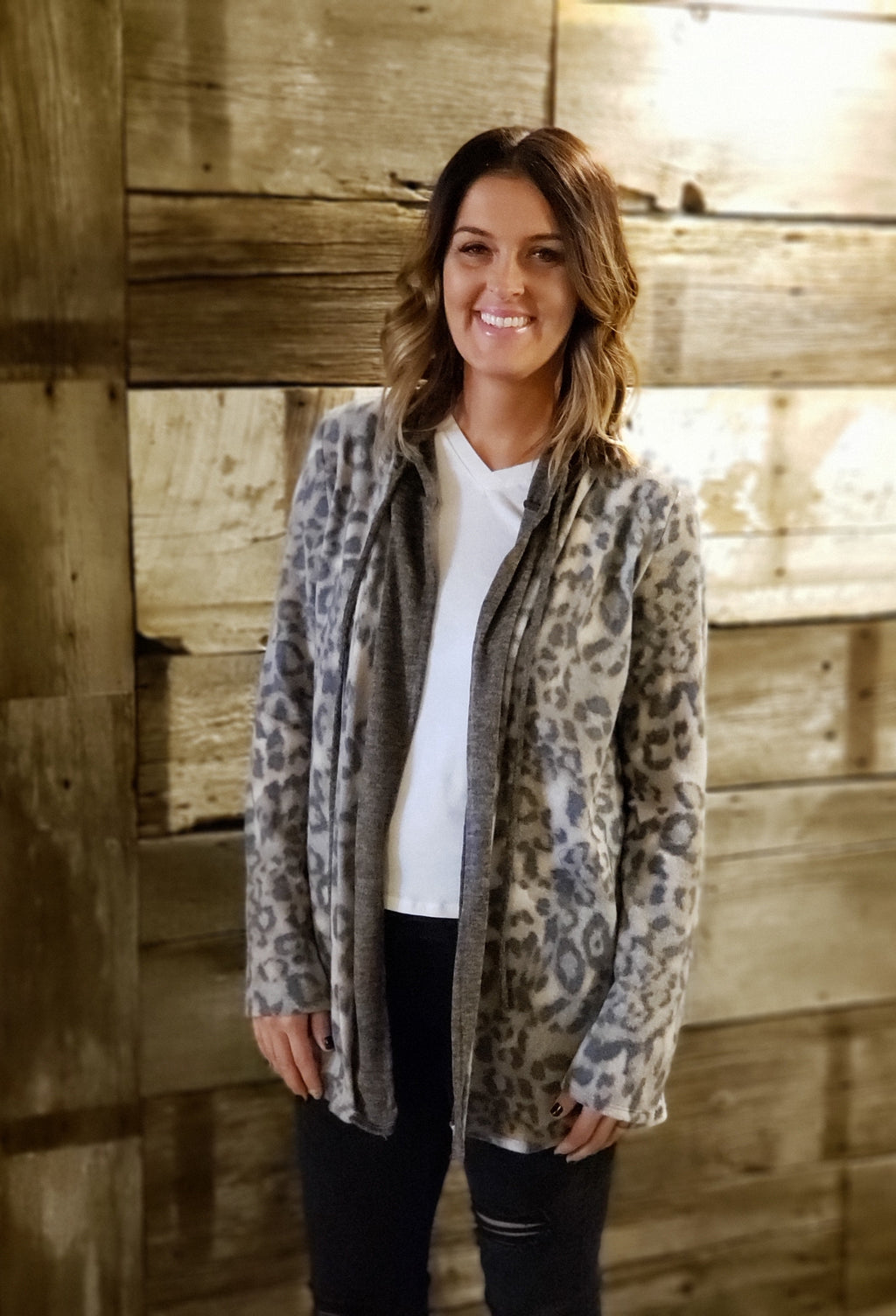 Mocha Leopard Print Open Hoodie Cardigan with Elbow Patch