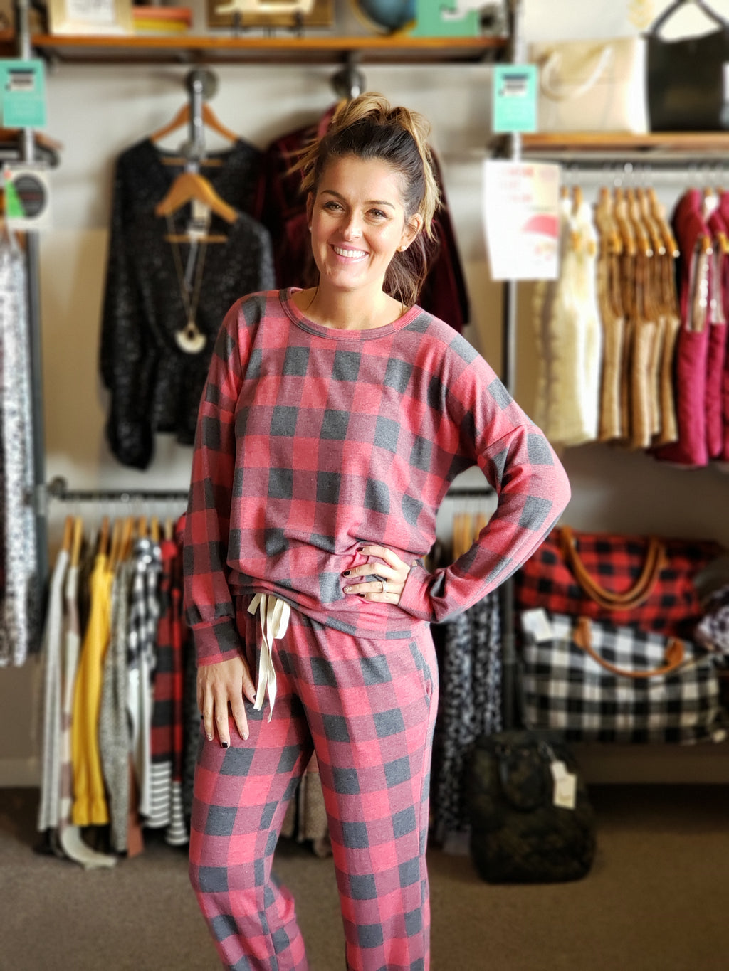 Red Plaid Print Long Sleeve Jogger Set