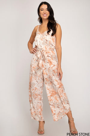 Peach/Stone Sleeveless Woven Printed Jumpsuit