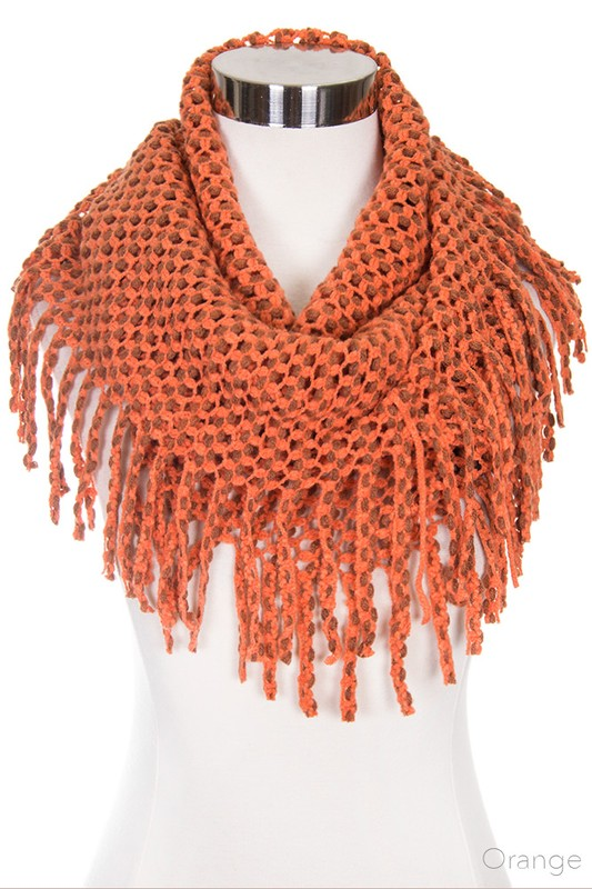 Orange Tube Scarf with Fringe