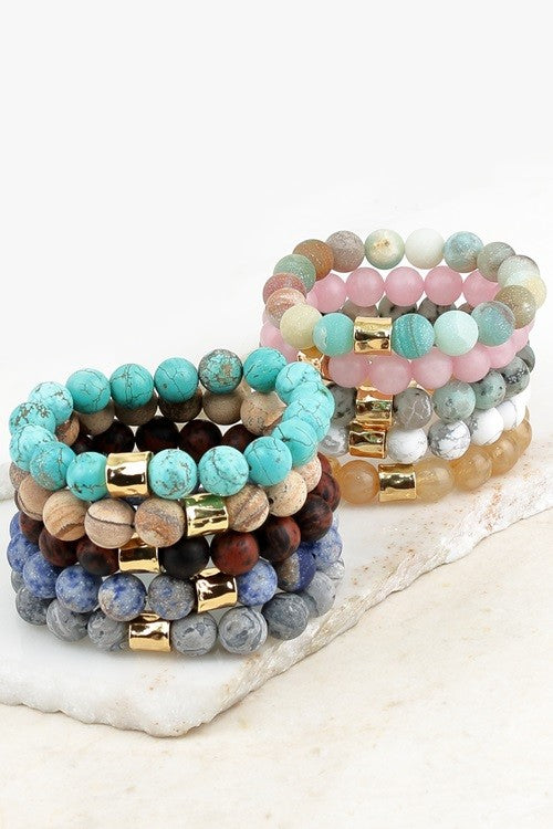 Natural Stone Beaded & Stackable Bracelets - Variety of Colors