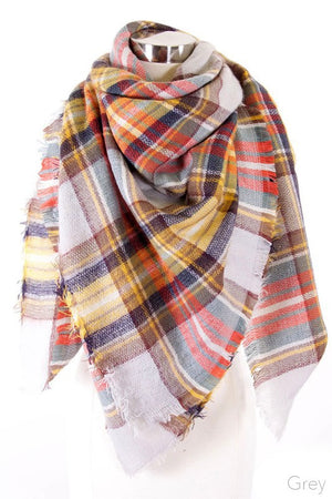 Gray/Mustard Plaid Blanket Scarf