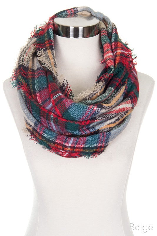 Beige Checker Plaid Infinity Scarf