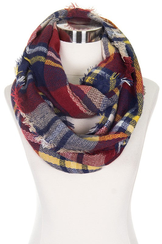 Burgundy Checker Plaid Infinity Scarf