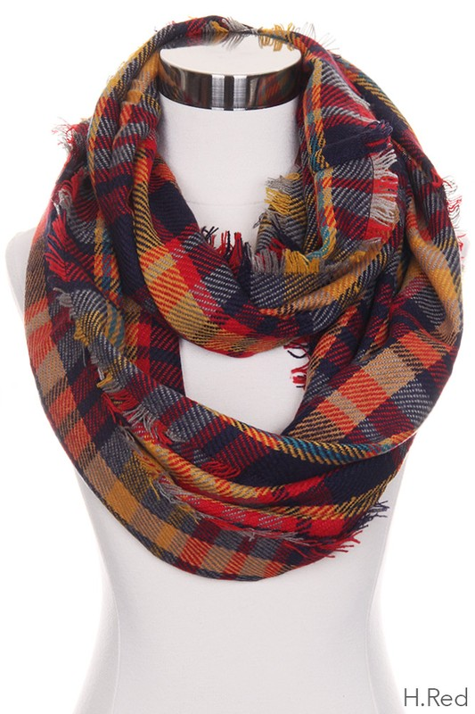 Multi Color Red Checker Infinity Scarf