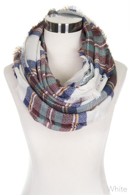 White Checker Plaid Infinity Scarf