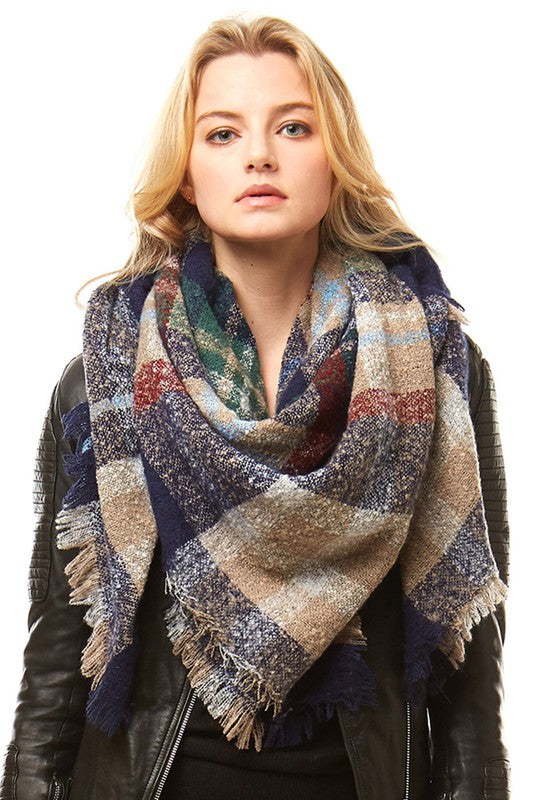 Navy/Beige Plaid Blanket Scarf