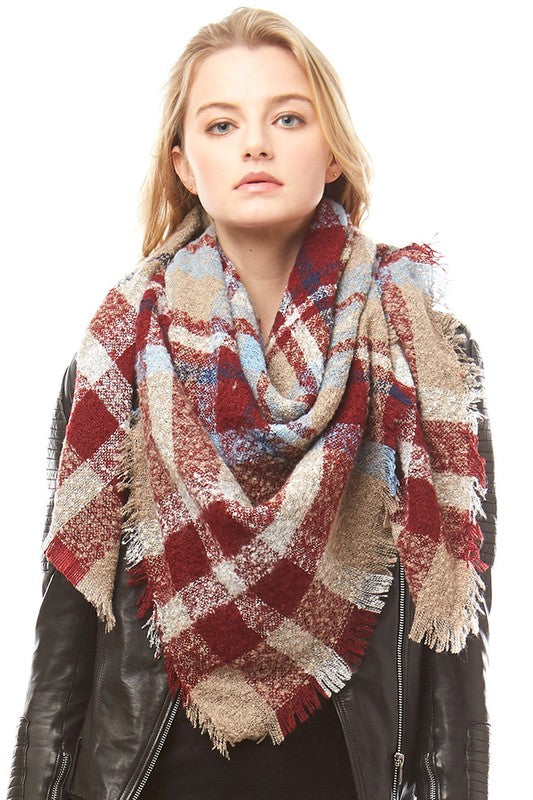 Burgundy/Beige Plaid Blanket Scarf