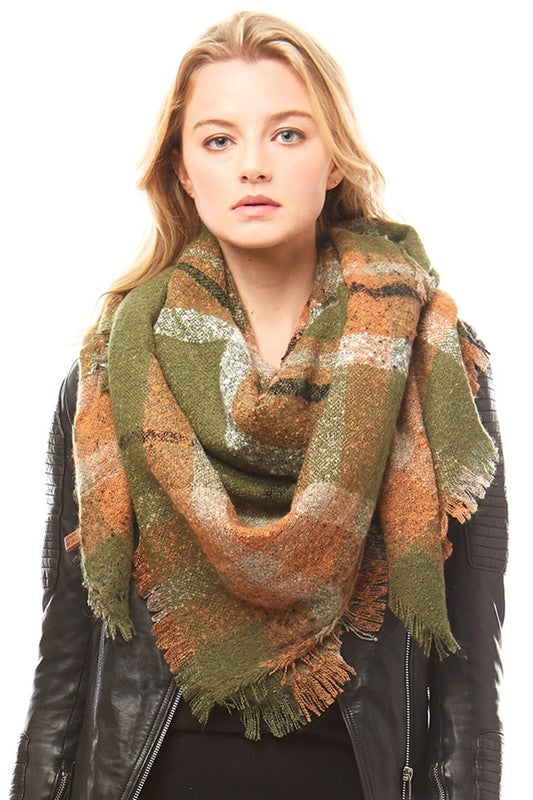 Olive/Orange Plaid Blanket Scarf