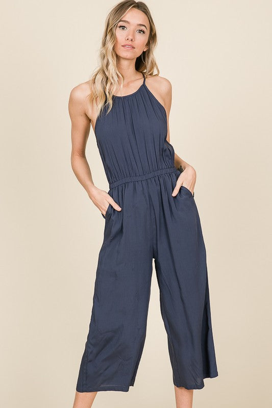 Dark Grey Sleeveless Halter Neck with Pockets Jumpsuit