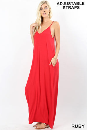 Light Olive & Ruby V-Neck Cami Maxi Dress with Pockets