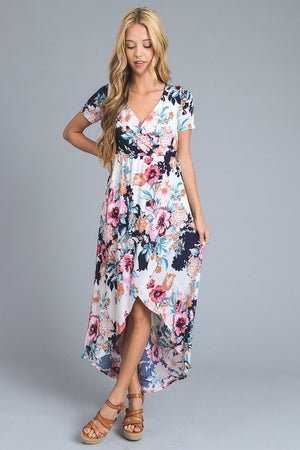 Ivory Short Sleeve V-neck High Low Floral Print Dress