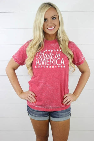 Red Made In America Acid Wash Tee
