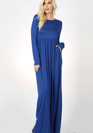 Mid Navy  Long Sleeve Round Neck Maxi Dress
