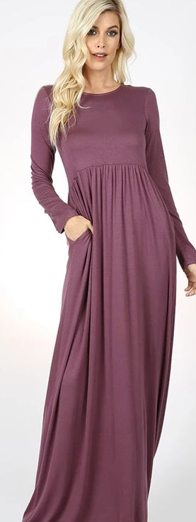 Eggplant Long Sleeve Round Neck Maxi Dress