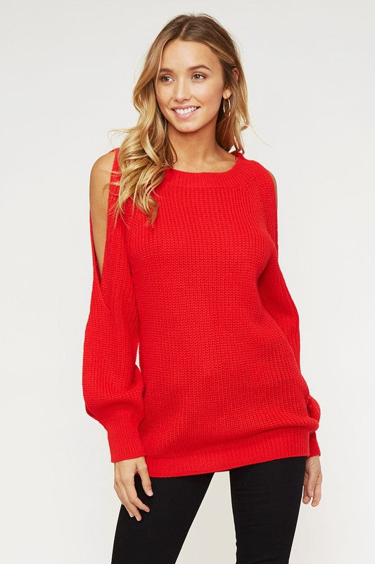 Red Open Sleeves Sweater Top
