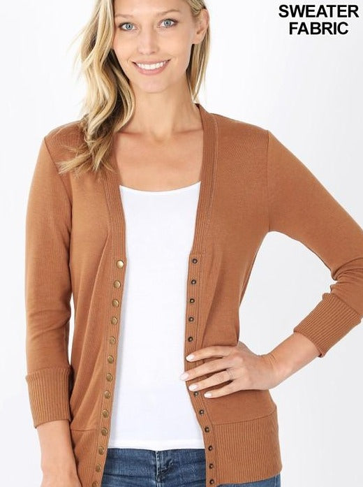 Snap Button Cardigan with 3/4 Sleeves