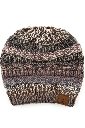 C.C. Multi Color Messy Bun Beanie - Various Colors