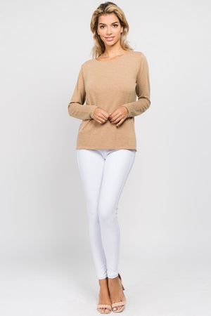 L/S T-Strap Surplice Back Top- ALL SALES FINAL