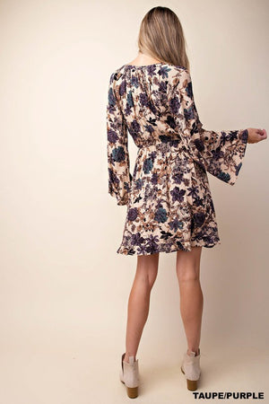 Taupe/Purple Ruffled Hem Flared Sleeve Dress