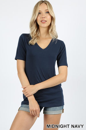 Magenta or Navy Short Sleeve V-Neck Top- ALL SALES FINAL