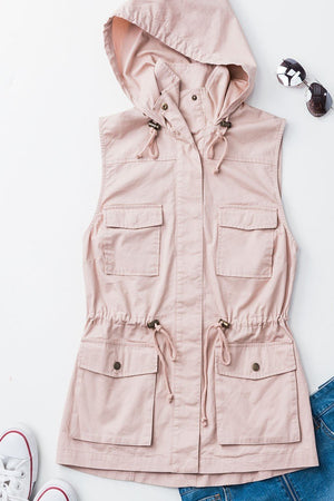 Blush or Mauve Zip Up Button Closure Hooded Vest With Pockets - ALL SALES FINAL
