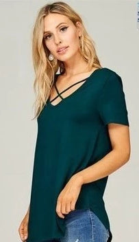 Short Sleeve Jersey Tunic Top with Crisscross - ALL SALES FINAL