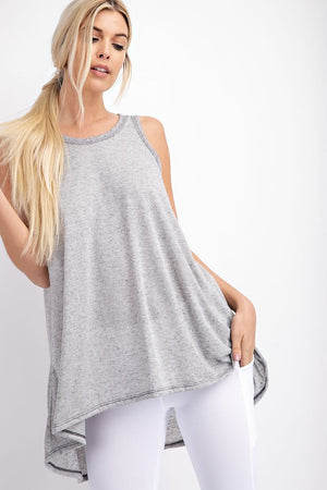 Grey Linen Scoop Neck Hi/Lo Tank-ALL SALES FINAL