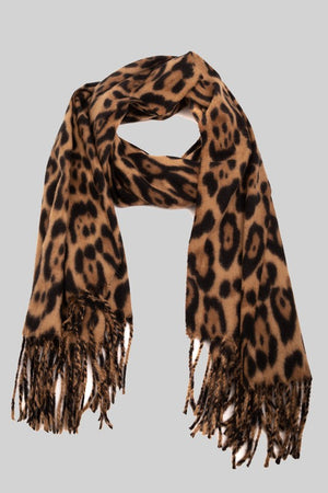 Winter Leopard Print Oblong Scarf-ALL SALES FINAL