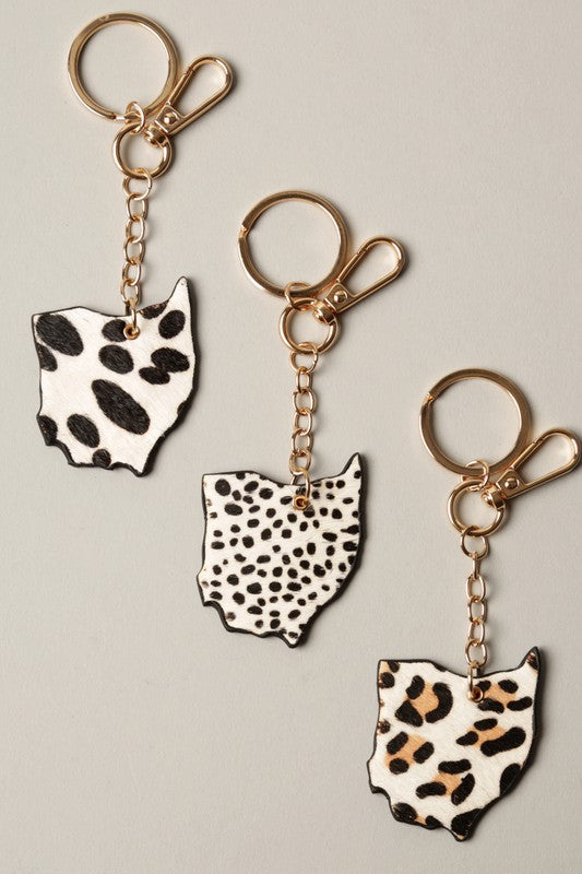 Ohio Map Animal Skin Faux Leather Key Chain