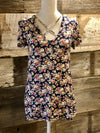 Navy Short Sleeve Floral Tunic Top- ALL SALES FINAL