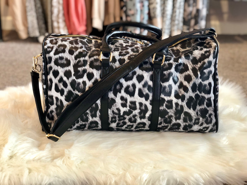 Leopard Print Vegan Leather Weekender Tote