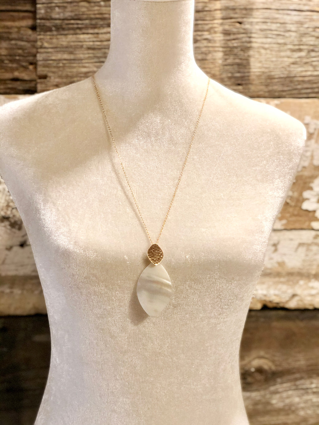 Ivory Pointed Oval Pendant Necklace