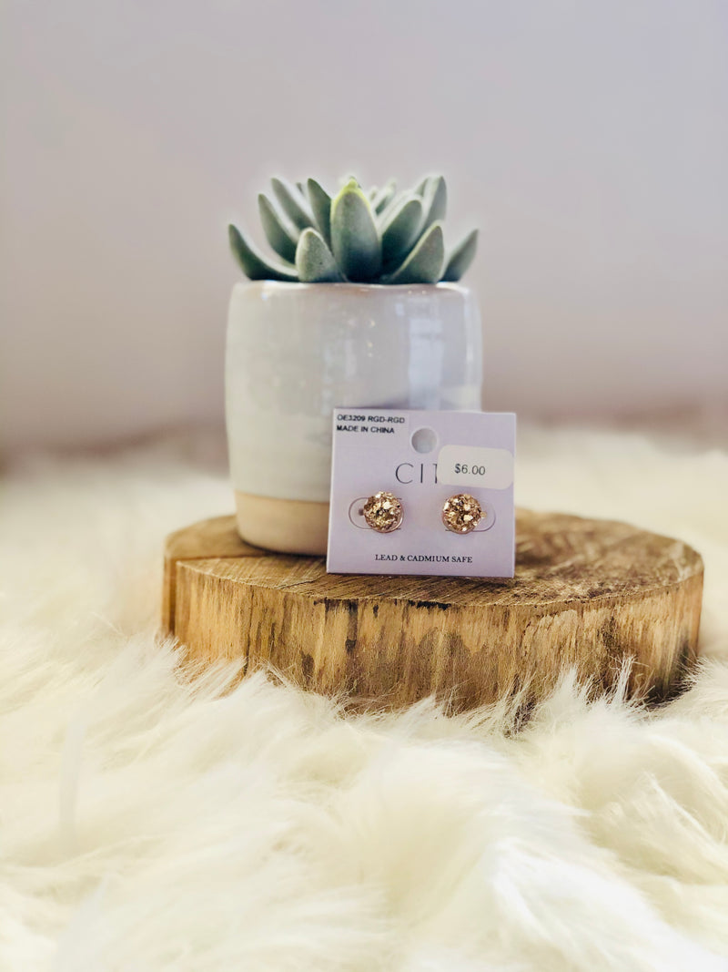 Rose Gold Round Druzy Post Earrings