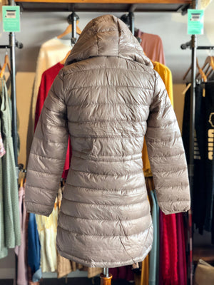 Taupe Long Line Body Lightweight Padded Puffer Jacket