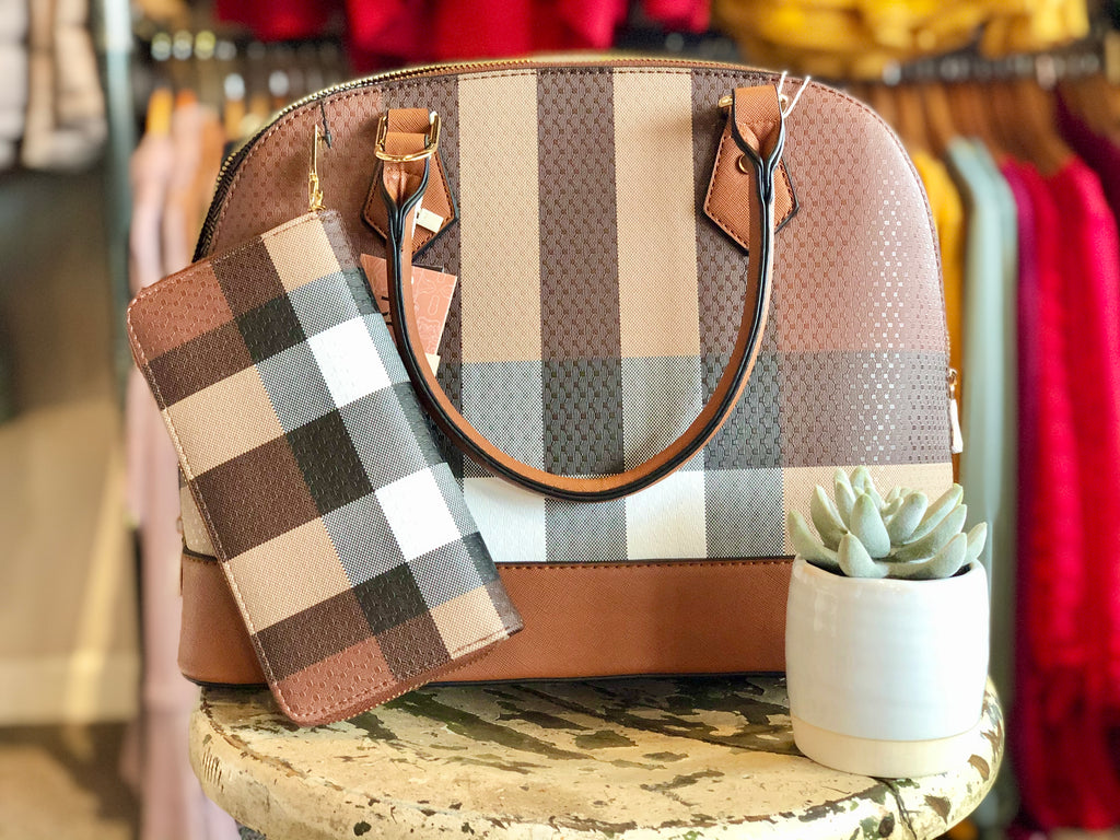Brown Checkered 2 in 1 Handbag