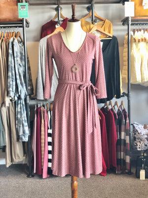 Dark Mauve Quarter Length Sleeved Dress with Tie Belt-ALL SALES FINAL