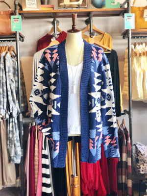 Blue Aztec Pattern Knitted Cardigan