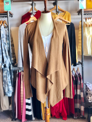 Camel Open Front Cardi with Pockets