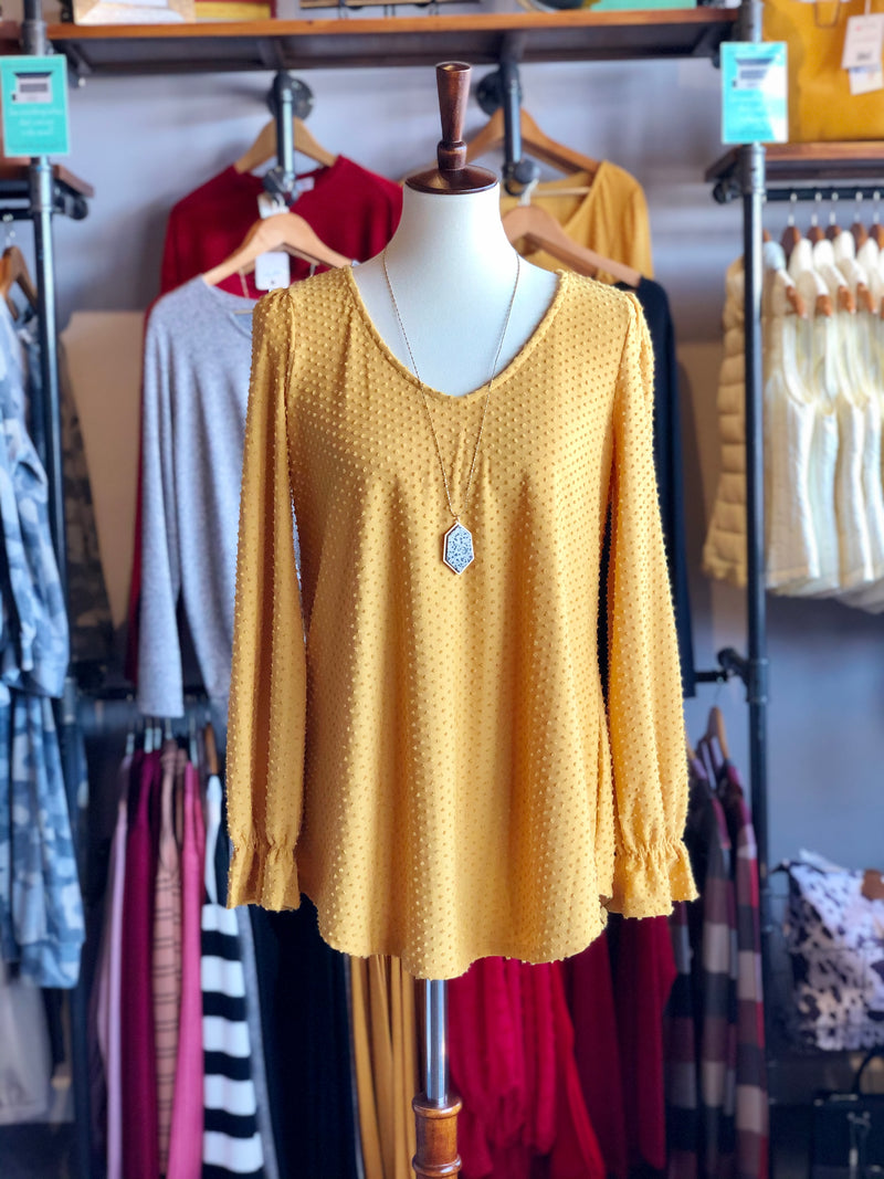 Mustard Swiss Dot Long Sleeve V-Neck