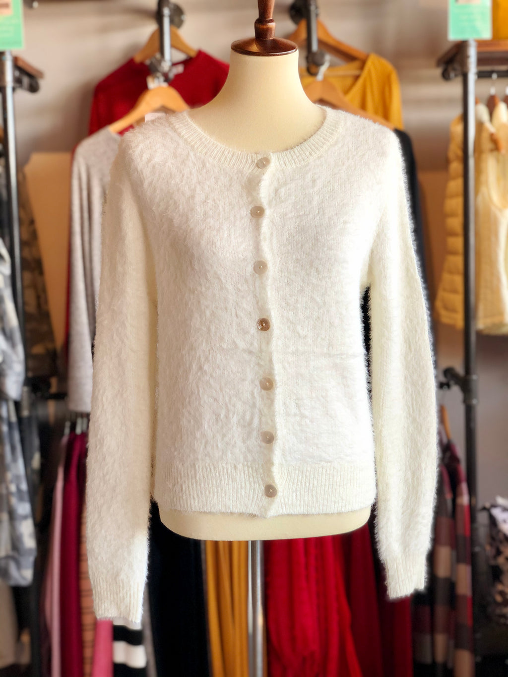 Ivory Fuzz Button Down Sweater