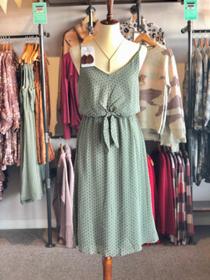 Light Olive Diamond Print Front Knot Dress with Lining -ALL SALES FINAL