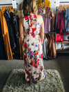 Ivory Halter Tie Back Floral Maxi Dress