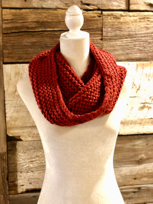 Burgundy Solid Knit Tube Scarf