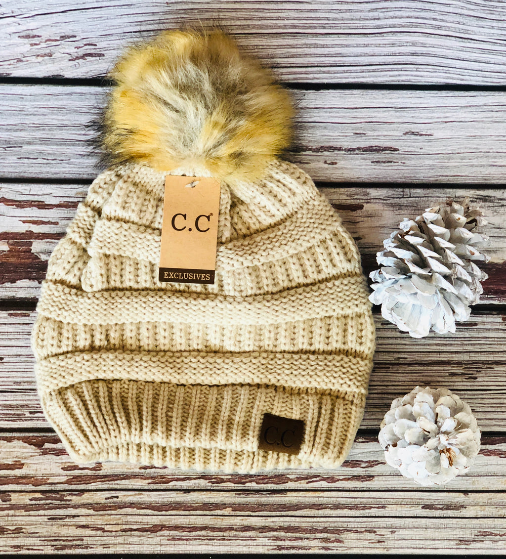 C.C. Beanie with Dark Fur Pom Pom